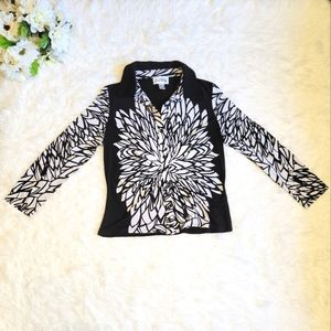 Joseph Ribkoff Black & White Long Sleeve Top Patterned Blouse Button Up Size 12